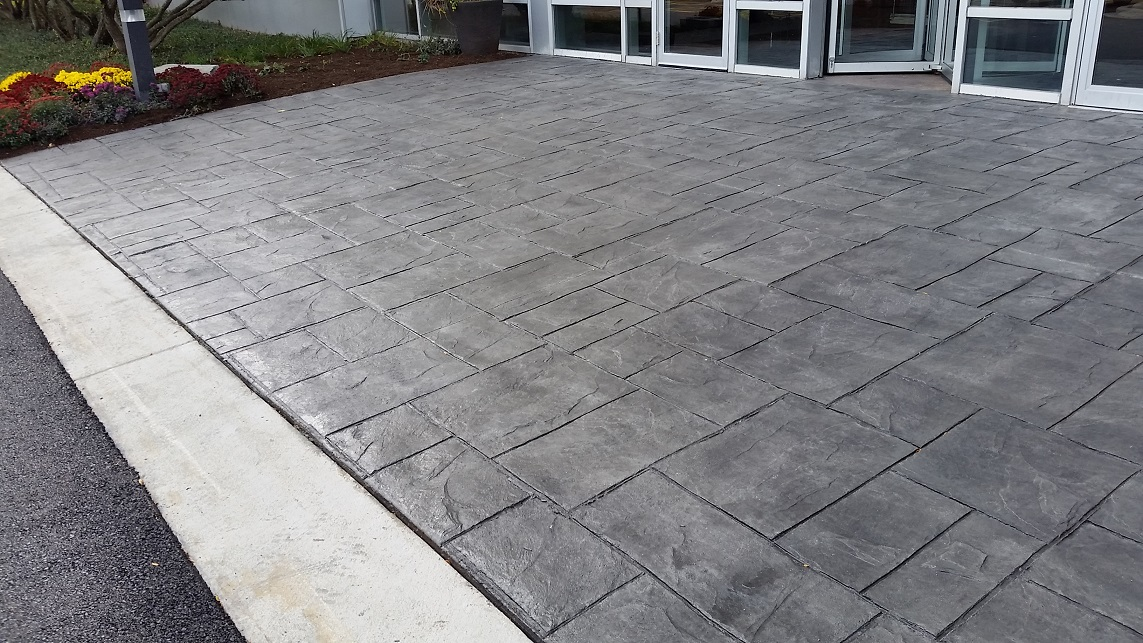 Colored and Stamped concrete sidewalk